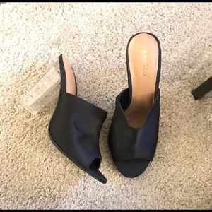 Shoes - New! Black Mules with clear heels for Summer look!